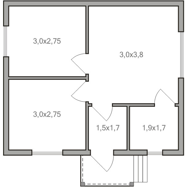 Одноэтажный дом 6х7