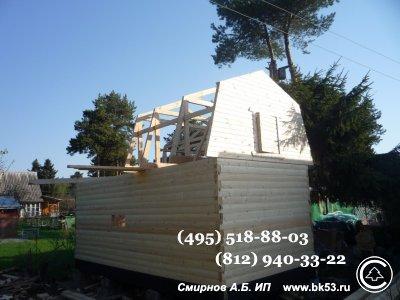 Строительство под ключ одноэтажной Г-образной бани из бруса с ломаной